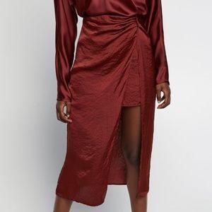 NWT Zara Satin Skirt with Slit